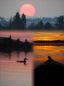 Campbell Lake Sunrise and Moonrise