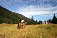 Riding to the Guest Lodge at Tod Mountain Ranch