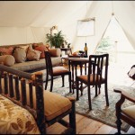inside the teepee at Clayoquot Wilderness Resort