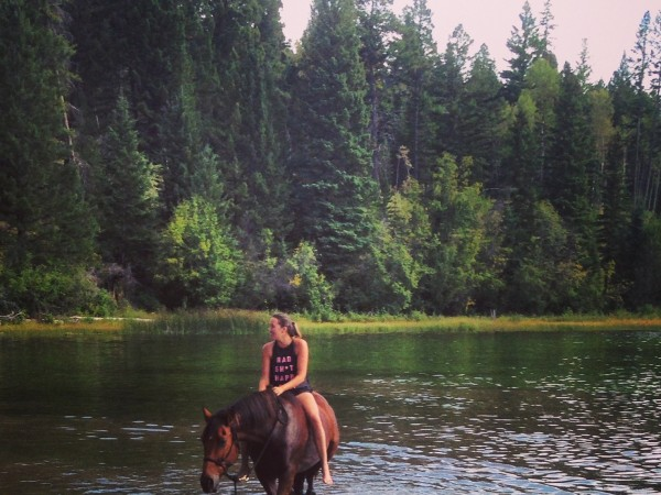 Sarah and Sully swimming horse