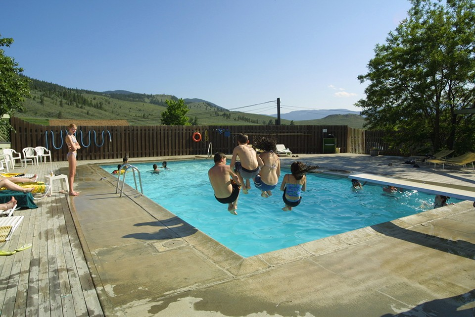 kids jumping into swimming pool