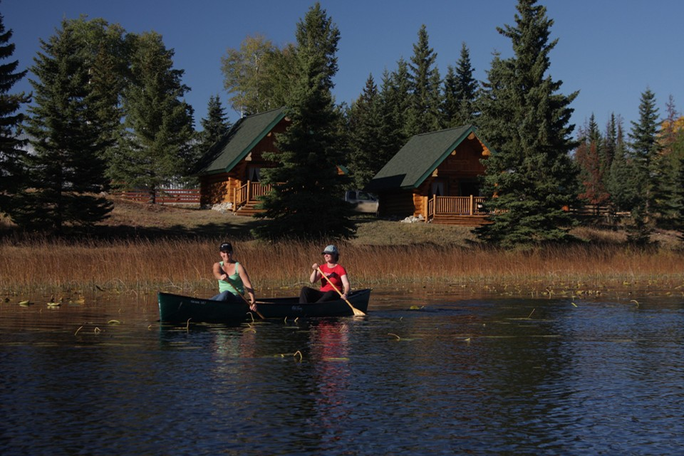 canoeing on lake at dude ranch