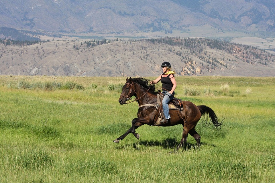 woman riding horse through ranch