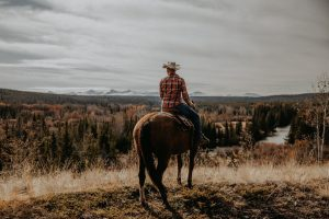 man on horse overlooking the ranch
