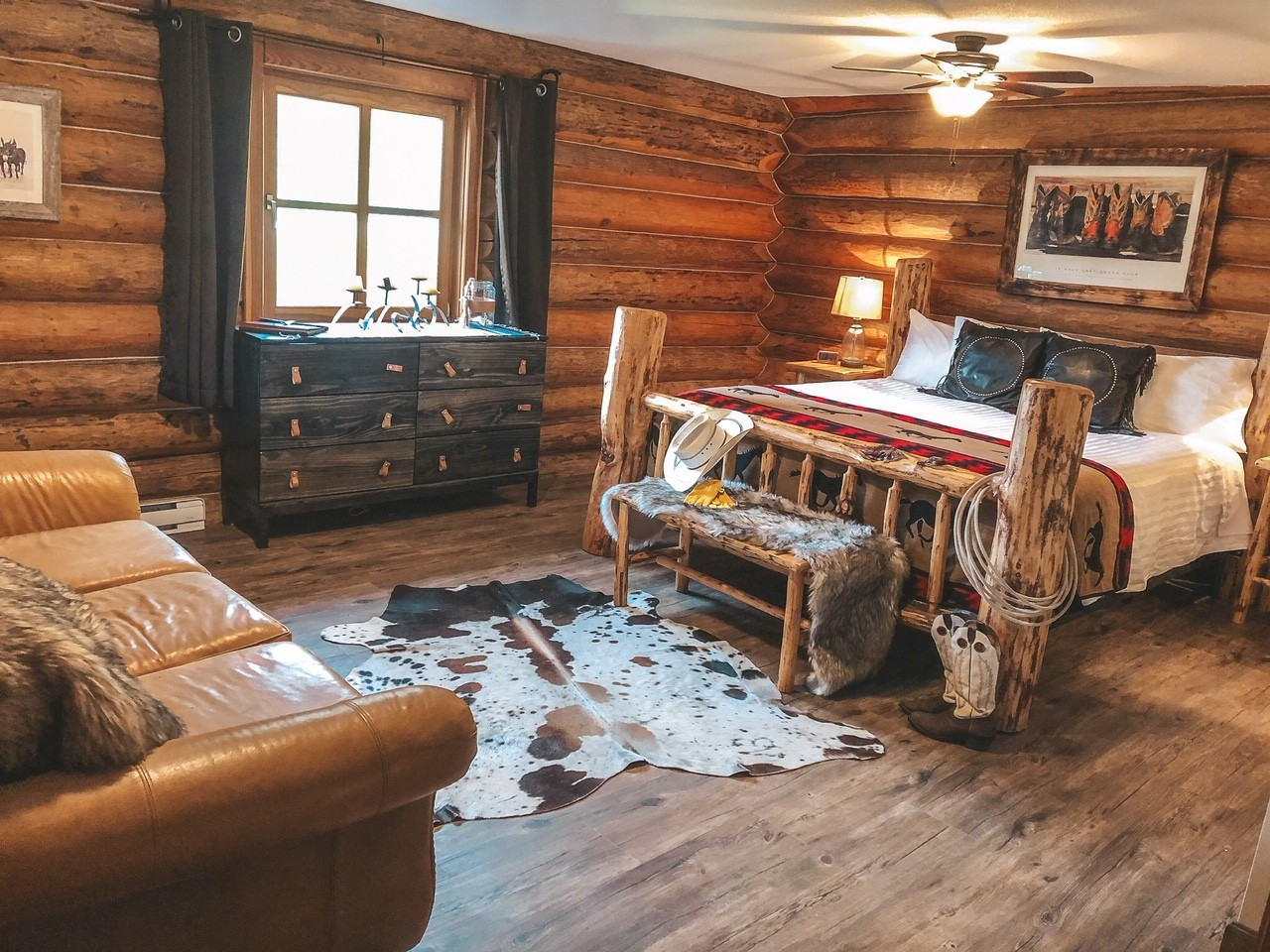 rustic bedroom at ranch
