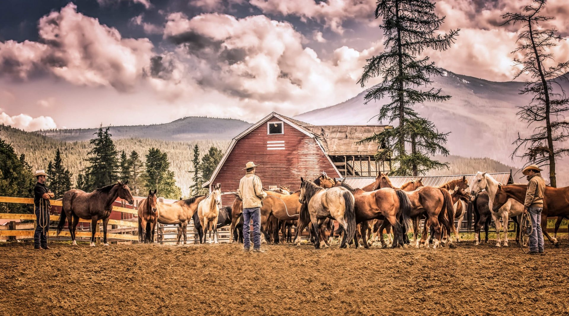 ranchers with horses with beautiful mountains as a backdrop